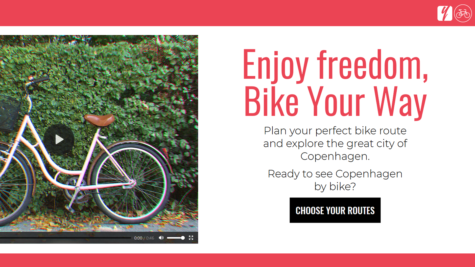 Screen shot of the website Bike Your Way